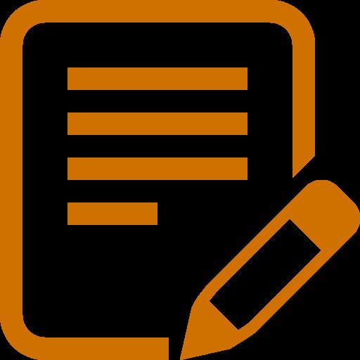 Icône d'écriture de texte PNG symbole orange