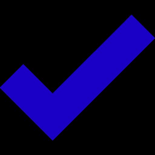 Icône de tique bleue