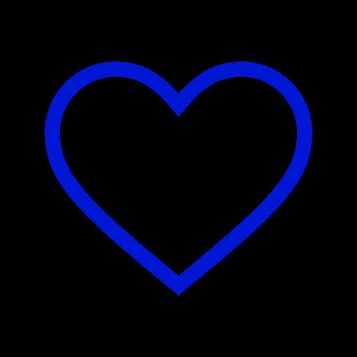 Icône de coeur creux bleu