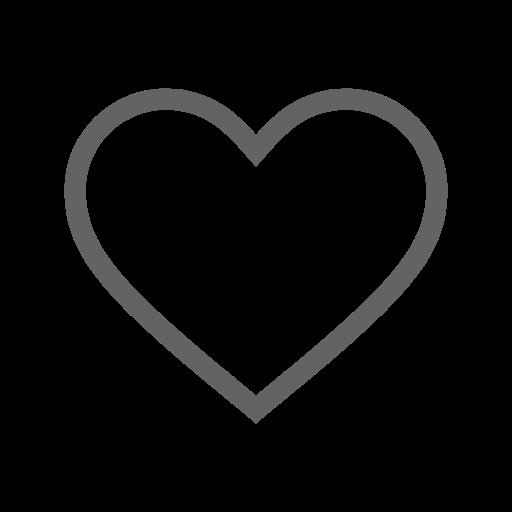 Icône de coeur creux gris