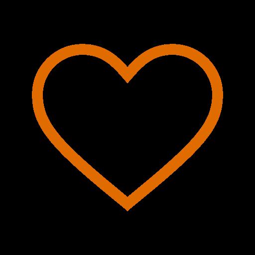 Icône de coeur creux orange