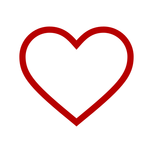 Icône de coeur creux rouge