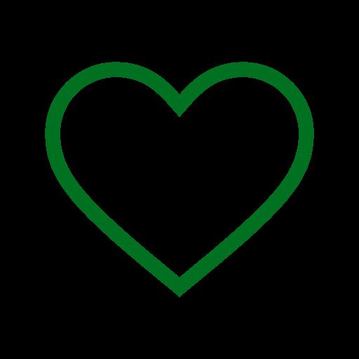 Icône de coeur creux vert