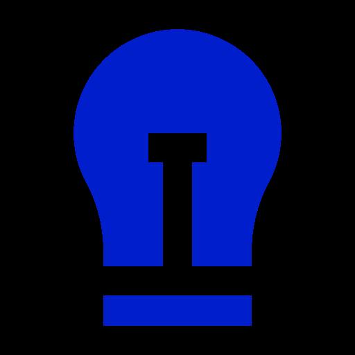 Icône de l'ampoule bleue