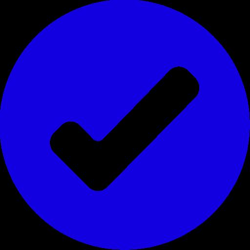 Icône de tique ronde bleue