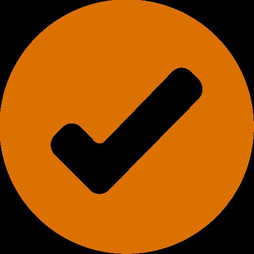 Icône de coche ronde orange