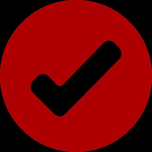 Icône de tique ronde rouge