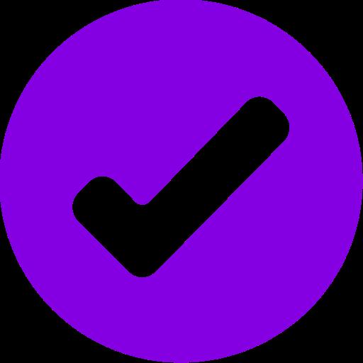 Icône de tique ronde violette