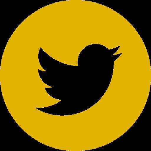 Icône ronde Twitter jaune