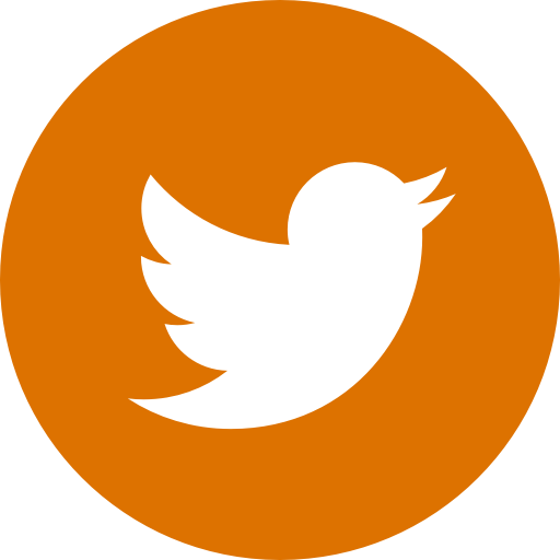 Icône ronde orange Twitter