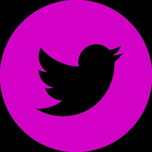 Icône ronde Twitter rose