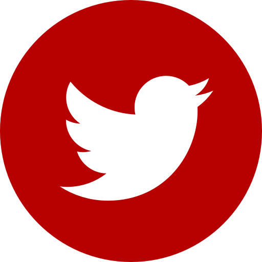 Icône ronde Twitter rouge