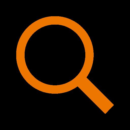Loupe et icône de recherche couleur orange