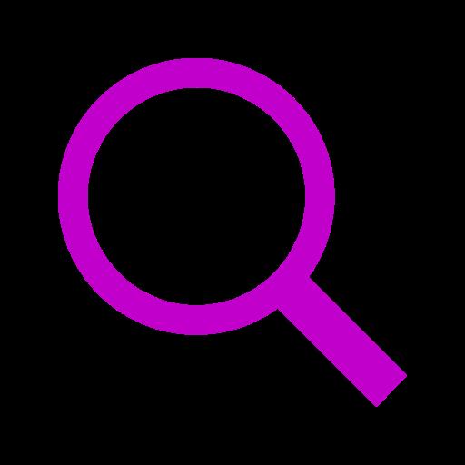 Icône de loupe et de recherche de couleur rose