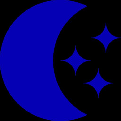 Symbole de la lune avec des étoiles png sans fond bleu