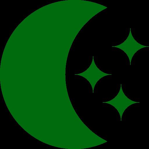 Symbole de la lune avec des étoiles png sans fond vert
