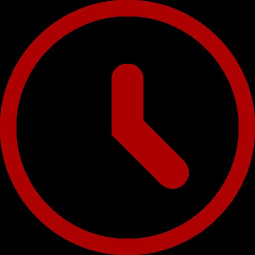 Icône d'horloge rouge (symbole png)
