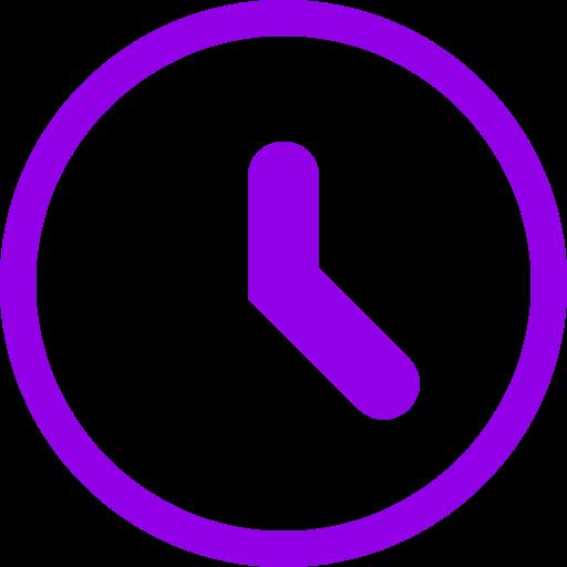 Icône d'horloge violette (symbole png)