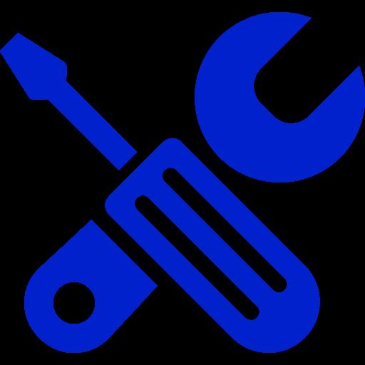 Icône de configuration et d'outils bleu