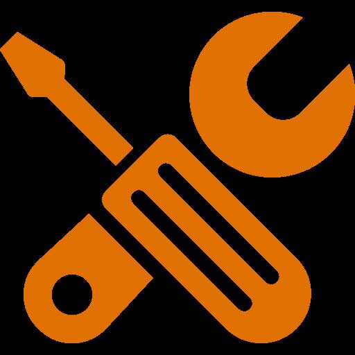 Icône orange des outils et de la configuration