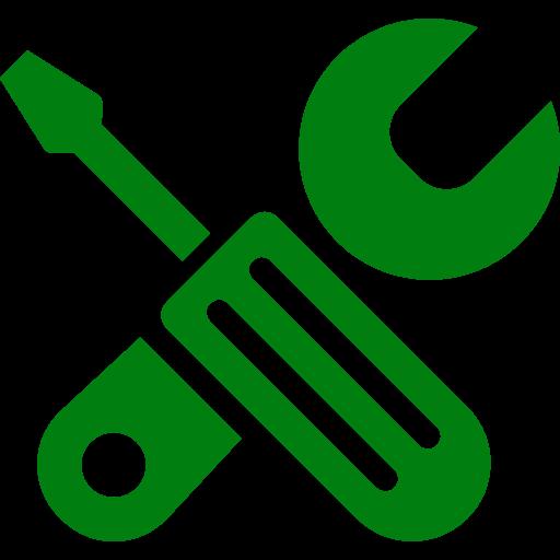 Icône verte de configuration et d'outils