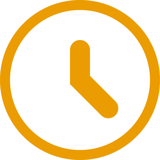 Icône d'horloge jaune (symbole png)