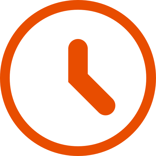 Icône d'horloge orange (symbole png)