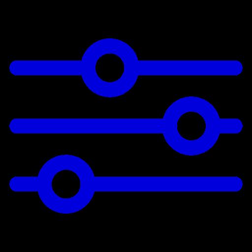Icône bleue des paramètres et des paramètres