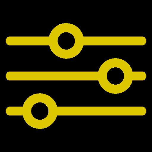 Icône de paramètres et de paramètres jaune