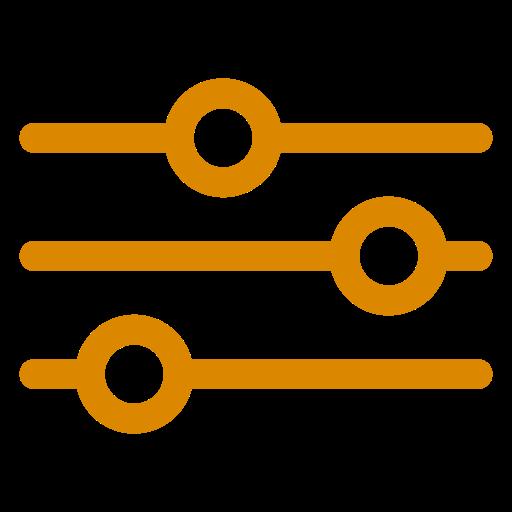 Icône orange des paramètres et des paramètres