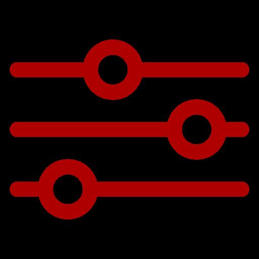 Icône rouge des paramètres et des paramètres