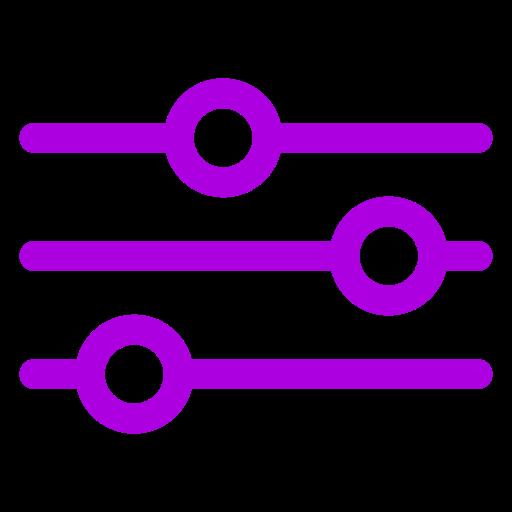 Icône de paramètres et de paramètres violette