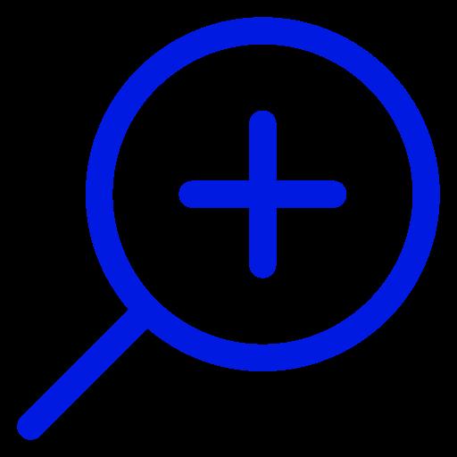 Icône de zoom loupe bleue