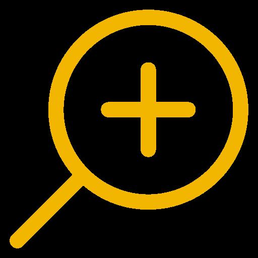 Icône de zoom en forme de loupe jaune