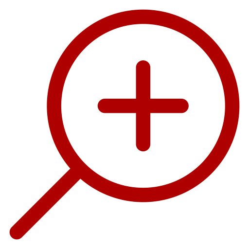 Icône de zoom loupe rouge