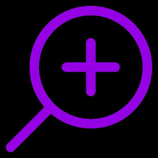 Icône de zoom loupe violette
