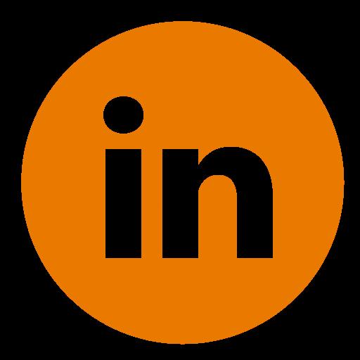 Linkedin orange round icon