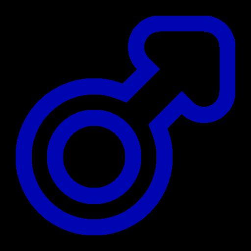 Symbole de genre masculin: icône bleue