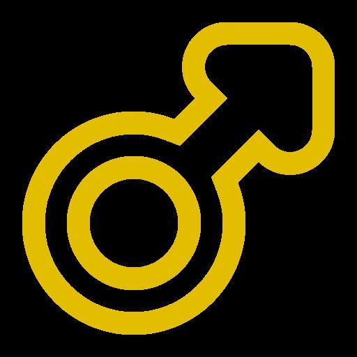 Symbole de genre masculin: icône jaune