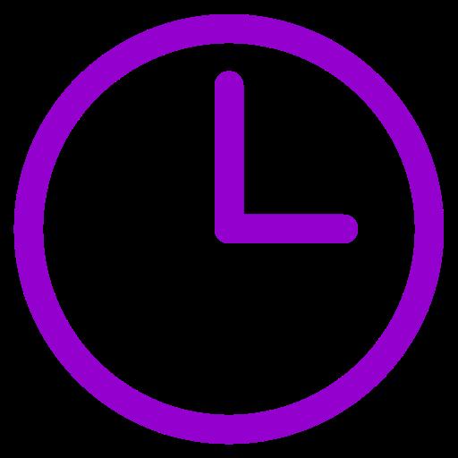 Symbole d'horloge violet
