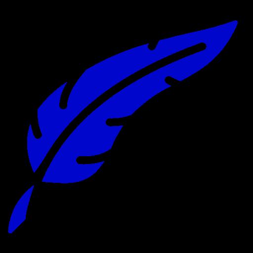 Symbole de plume png bleu