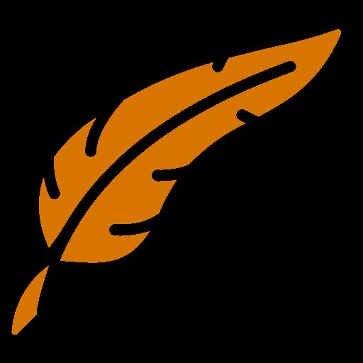 Symbole de plume png orange