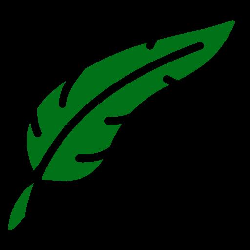 Symbole de plume png vert