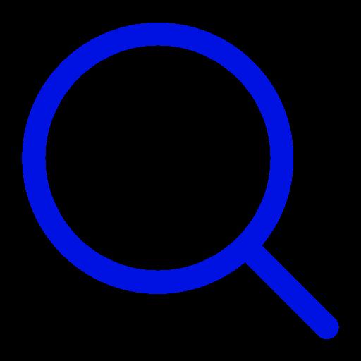 Symbole de zoom de la loupe bleue