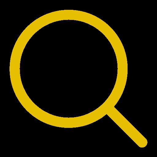 Symbole de zoom en forme de loupe jaune