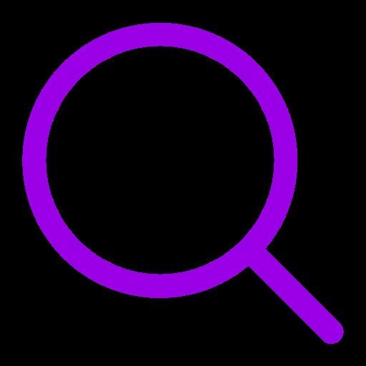 Symbole de zoom loupe violet