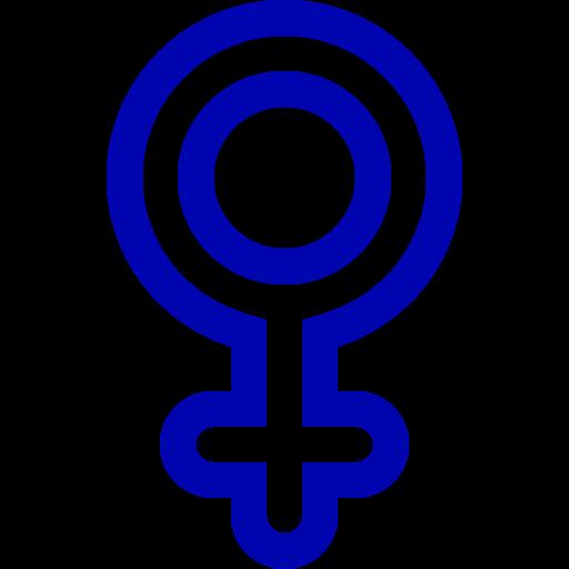 Symbole de genre féminin: icône bleue