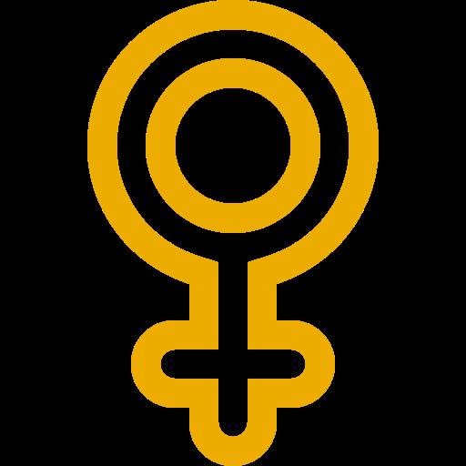 Symbole de genre féminin: icône jaune
