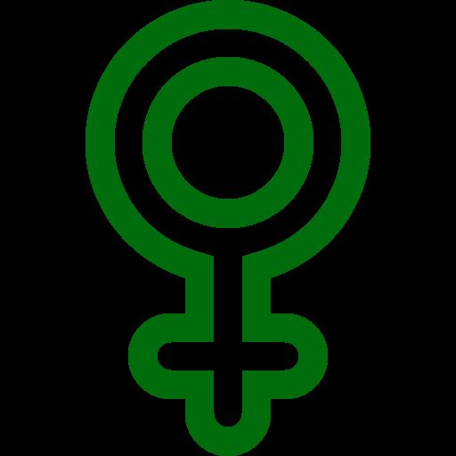 Symbole de genre féminin: icône verte