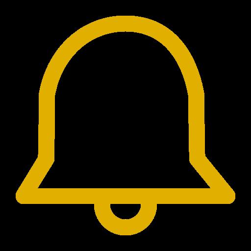 Icône de cloche de notification jaune (symbole png)